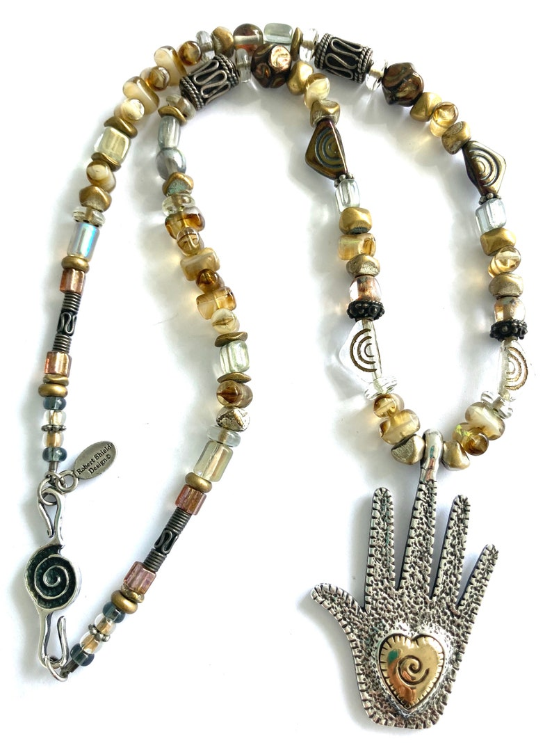 Vintage Robert Shields Design Multi-Colored Beads Sterling Silver Large Heart in Hand Charm Necklace 18\u201d