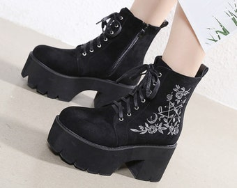 platform shoes sneakers womens vintage platforms chunky high tops millitary goth rock shoes boots black size eu 39 us 8 uk 6