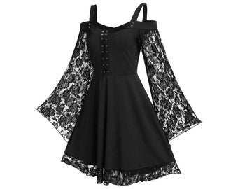 Goth Dress Plus Size, Cold shoulder Gothic Dress, Cosplay Costume, Long Flared Sleeve, Gothic Mini Dress, Kawaii Costume, Punk Mini Dress