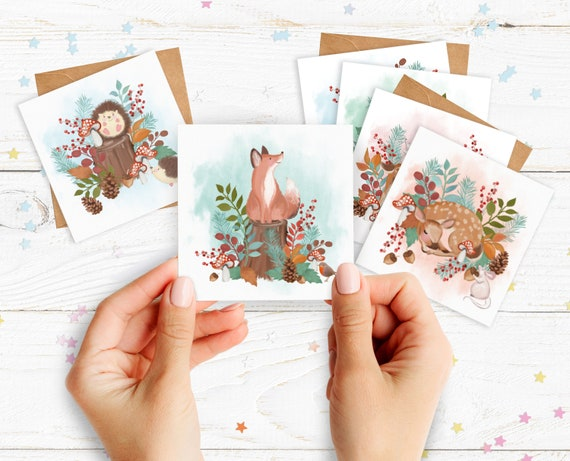 Woodland Animals Cards. Pack of cards. 6 Cute Woodland Animal Cards. 6 Blank Cards and Envelopes.