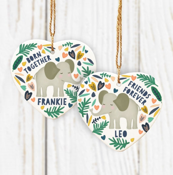 Personalised Twin Ceramic Hearts Gift. Twin Elephant Gifts. Born Together Friends Forever Elephant Twin Ceramic Hearts. Twin Gift.