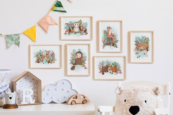 Woodland Animals Wall Prints Bundle. Nursery Room Print Bundle. Cute Children's Room Print Bundle.