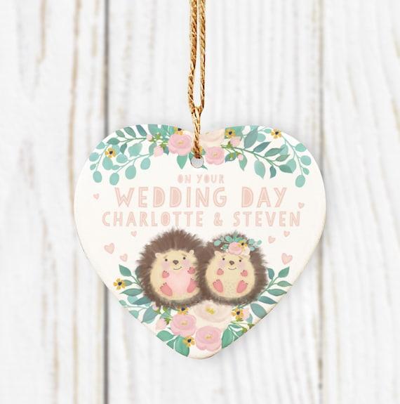 On your Wedding Day Hedgehog Ceramic Heart. Wedding gift. Cute Hedgehog Heart. Personalised Wedding Gift.