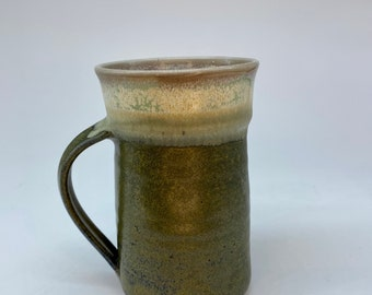 Handmade, wheel thrown pottery cup, high-fired porcelain