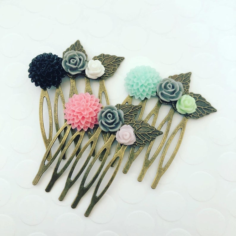vintage boho made by hand ooak flowers in black pink and aqua FLOWER HAIR COMB petite brass comb and leaves antique bronze finish