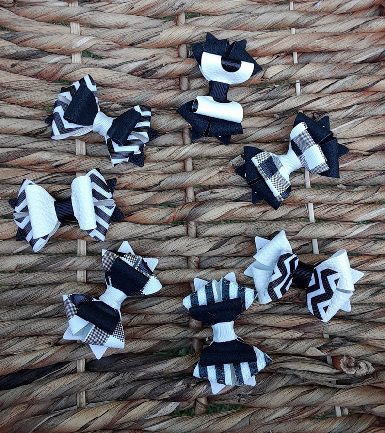 Faux Leather hairbow Newborn bows Glitter faux leather Gift to daughter Black and White Mini Bow First ponytail bow Black and White Bow