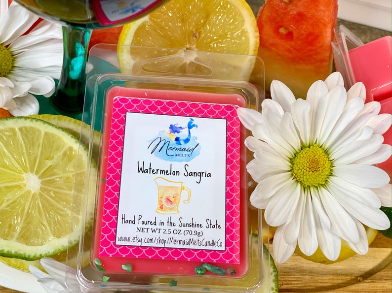 Phthalate Free All Natural Soy Wax Watermelon Sangria Flameless Wax Candle Highly Scented Gift for Him Gift for Her Wax Melt
