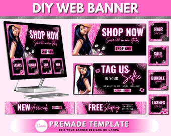 Web Banner, Boutique Website Banners, Beauty Web Banner Template, Shopify Web Banner, Hair Lash Web Banner, Business Site Banner Design