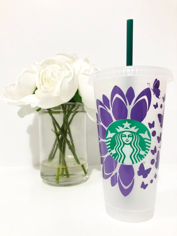 Download Sunflower Butterfly Starbucks Cold Cup SVG Files Cricut ...