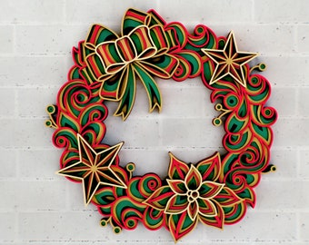 Christmas Wreath 3D Zentangle svg files, Multilayer Panel for Laser Cutting, SVG files,  DXF Templates for CNC router