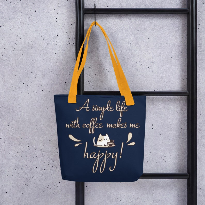 Cute Cat Lover Simple Tote bag A simple life with coffeeCoffee lover Personalized Cotton Canvas Minimalist Simple Lifestyle Tote Bags