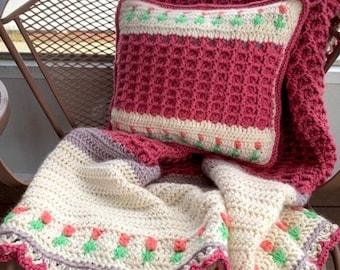Crochet Pattern Bundle, Tulip Blossom Pillow and Blanket Set, Couch Pillow and Blanket, Pillow and Throw Set