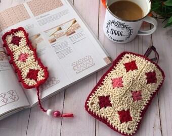 Crochet Pattern, Granny Square Bookmark, Crochet Bookmark, Crochet Glasses Case, Diamond Fun Bookmark and Glasses Case