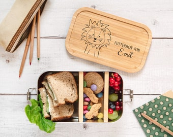 XXL lunch box personalized, lunch box children, stainless steel lunch box, lunch box with name, Christmas gift, Personalized lunch box