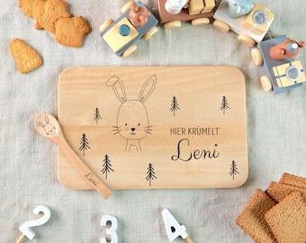 Wooden board with engraving, breakfast board kids, kids spoon, baby gift, board bunny, personalized cutting board, vesper board