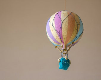 Paper Mache Hot Air Balloon Mobile Hanging 17 Inch