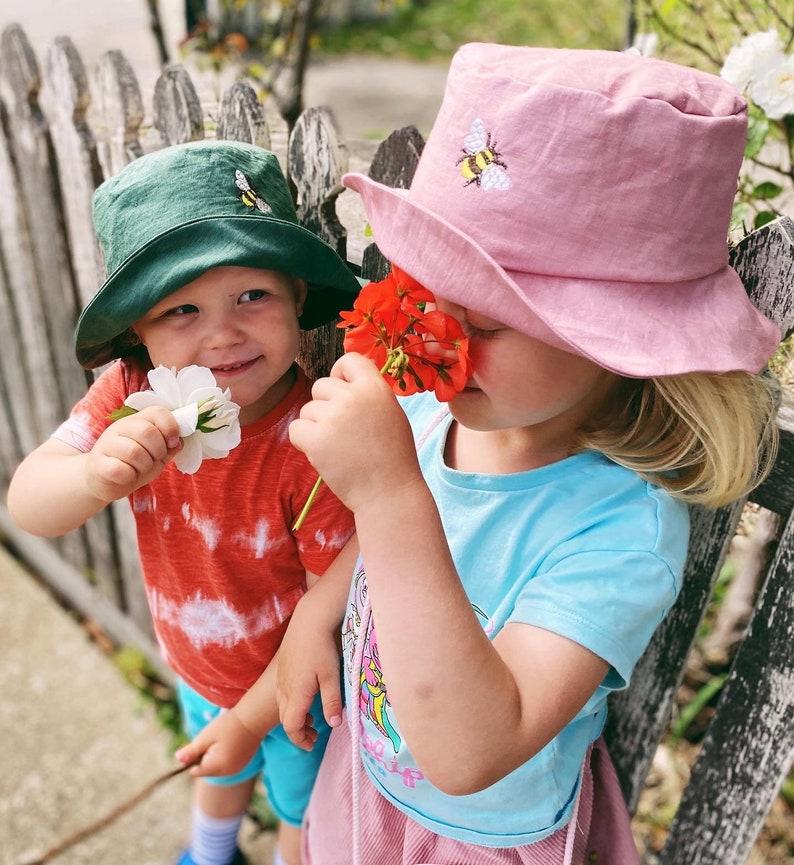 natural linen kids hat Bucket hat Boy summer hat made in Australia bee embroidery hat girl hat summer bucket hat