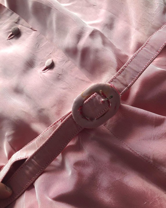 1940s pink taffeta dress with puff sleeves - image 3