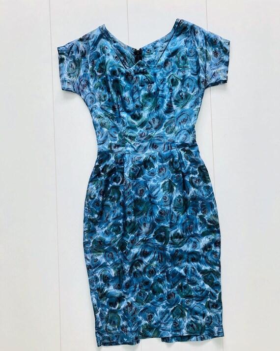1950s 1960s blue pencil dress