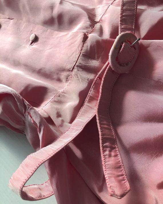 1940s pink taffeta dress with puff sleeves - image 4