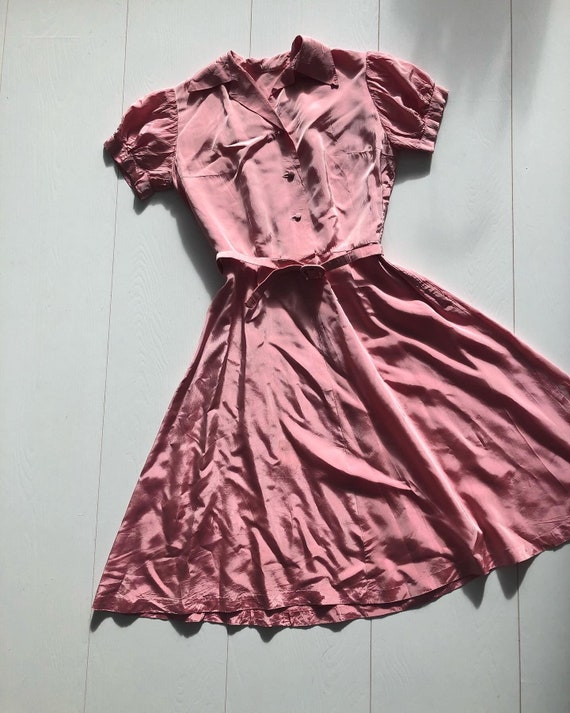 1940s pink taffeta dress with puff sleeves