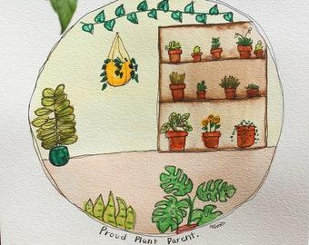 Original Artwork - House Plant Wall Art - Nature Watercolor - Plant Lover Gifts - Botanical Watercolor - Cottage Core Decor - Illustration