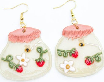 Strawberry Earrings, Spring Earrings, Cottagecore Earrings, Polymer Clay Earring, Aesthetic Earrings, Summer Aesthetic, Boho Clay Earrings