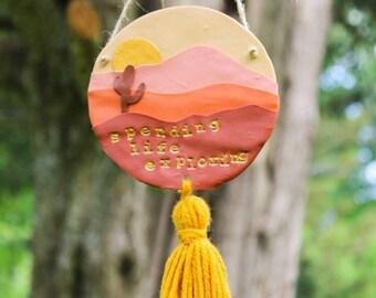 Boho Wall Hanging, Boho Home Decor, Clay Wall Hanging, Nature Wall Hanging, Desert Vibes, Boho Accessories, Sunset Wall Art, Outdoorsy Gifts