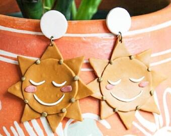 Sun Earrings, Positivity Jewelry, Polymer Clay Earring, Cottagecore Earrings, Aesthetic Earrings, Happy Earrings, Smiley Jewelry, Happy Face