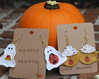 Fall Dangle Earrings, Fall Earring Set, Autumn Earrings, Cottagecore Gifts, Clay Fall Earrings, Fall Gifts, Halloween Earrings