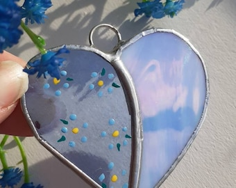 Handcrafted Stained Glass heart with Forget Me Not flower pattern window hanging Dementia Awareness forget me nots - Harestanes Glass Studio