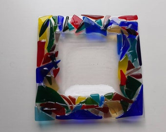 Fused glass multi-coloured large square platter rainbow gift or housewarming kiln-formed glass handcrafted at Harestanes Glass Studio