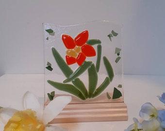 Daffodil spring time gift fused glass panel set in wood base flower art glass kilnformed suncatcher handcrafted at Harestanes Glass Studio