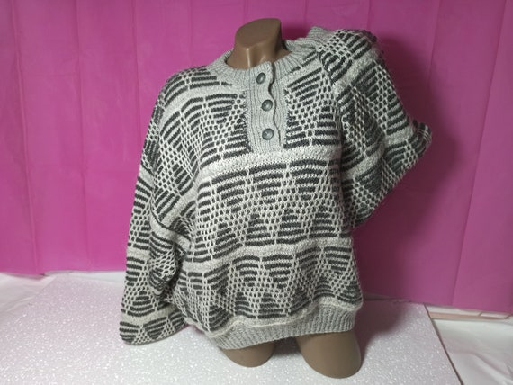 70s Vintage Warm Woolen Women Sweater Size L