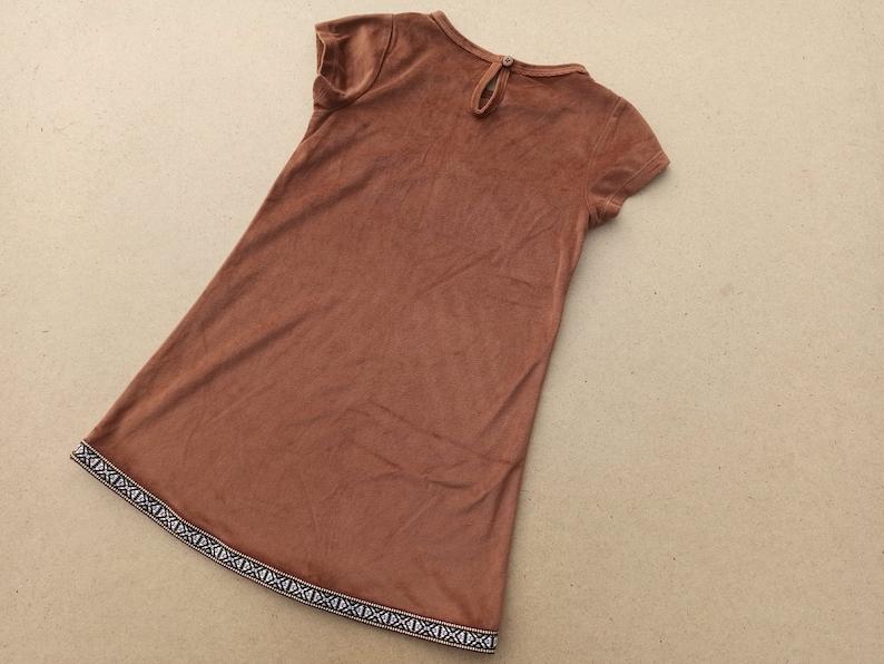 Brown velor dress for children with short sleeves 80s Vintage velor dress for a girl 5-6 years old Fringed dress.