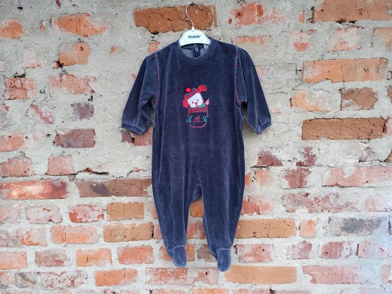 80s Vintage baby velor romper blue for a boy of 12-18 months.