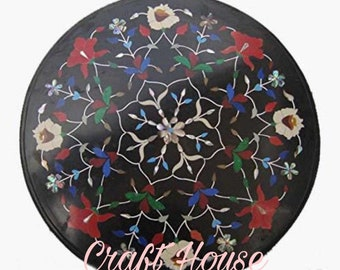 """24""""x24"""" Black Marble Coffee,dinning,Side Table Top Flower Inlaid Pietra Dura Home Decor Gifts,Inlaid with precious stones"""