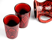 Ceramic Pitcher cups glasses Set handmade hand pained for sweet tea sangria pitcher, mexican pitcher, Moroccan Ceramic
