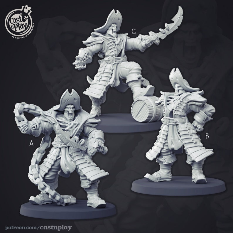 Cast and Play Painting Dungeons and Dragons Pathfinder Undead Pirate Captain
