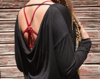 Long Sleeve Shirt WATERFALL Black -Yoga, Festival Fashion, Goa, Trance, Rave, Gothic