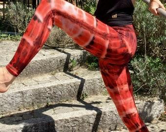 Leggings Batik orange red yoga, acrobatics, dance, festival fashion, trance, goa, sports