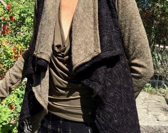 Cardigan, cardigan, wrap jacket with thumb holes OLIVE festival fashion, goa, trance, rave, elf