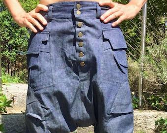 Unisex Baggy Pants, Drop Crotch Pants, Deep Step, Harem Pants, Pump Pants JEANS - Festival Fashion, Hipster, Streetwear, Goa, Trance, Rave -