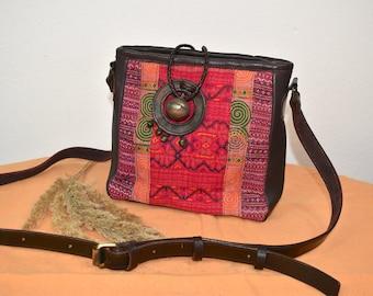 Leather bag ETHNIC Pinky