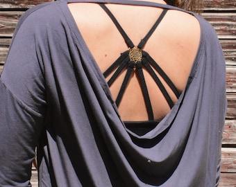 Long Sleeve Shirt WATERFALL Grey -Yoga, Festival Fashion, Goa, Trance, Rave-