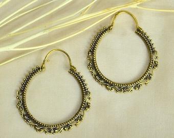 Hoop earrings SURYA brass antique style