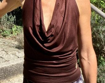 Halter Top WATERFALL Brown, Backless Yoga, Festival Fashion, Goa, Trance, Rave-