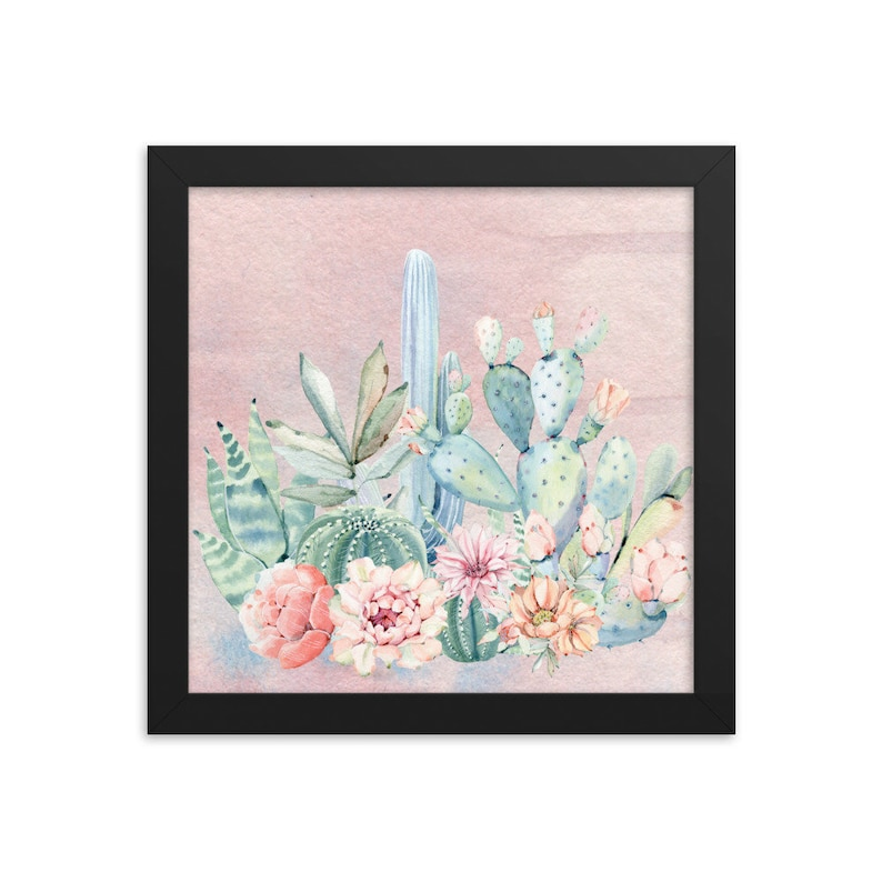 Watercolor Cactus Picture Boho Decor Framed Cactus Print Framed Cactus Poster