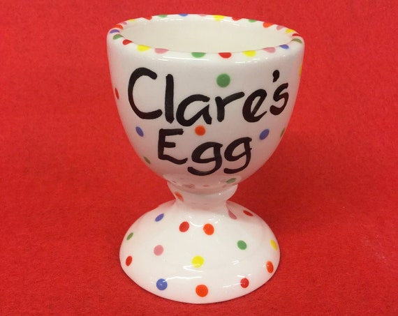Personalised Multi Colour Dotty Egg Cup