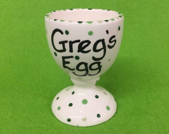 Personalised GREEN Colour Dotty Egg Cup